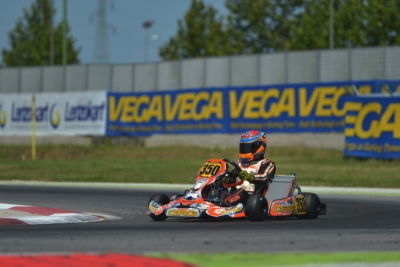 FINAL ROUND OF THE WSK SUPER MASTER SERIES AT ADRIA. THE POLE SITTERS AFTER THE QUALIFYING ARE ARDIGÒ (I – TONY KART-VORTEX KZ), CELENTA (I – FORMULAK-TM KZ2), BASZ (PL – KOSMIC-VORTEX OK) AND HAUGER (N – CRG-PARILLA OKJ).