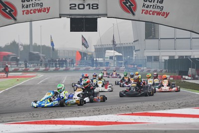 WSK CHAMPIONS CUP AT THE ADRIA KARTING RACEWAY: MALONEY (BRB – FA-VORTEX OK), MINÌ (I – PAROLIN-PARILLA OKJ), VASILE (ROU – DR-MODENA KZ2) AND ANTONELLI (I – ENERGY-TM 60MINI) SETTING THE PACE IN THE TIMING PRACTICE. Gallery