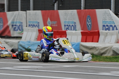 WSK SUPER MASTER SERIES'S CLASSIFICATION LEADERS: ARDIGÒ (I - TONY KART-VORTEX KZ2), NIELSEN (DK – TONY KART-VORTEX OK) SMAL (RUS – TONY KART-VORTEX OKJ) AND STENSHORNE (N – PAROLIN-TM 60 MINI) AT THE FINAL CHALLENGE.