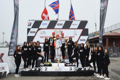 THE SECOND ROUND OF WSK FINAL CUP IN CASTELLETTO (PV): THE WINNERS EYCKMANS (B – PAROLIN-TM 60 MINI), AMAND (F – KR-PARILLA OKJ), RENAUDIN (F – SODI-TM KZ2) AND PATTERSON (GB – KR-PARILLA OK) CHARGING FOR THE CLASSIFICATION.