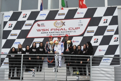 DRIVING SPECTACLE ON THE WET AT WSK FINAL CUP AT THE ADRIA KARTING RACEWAY. THE WINNERS ARE ROSSO (I – PAROLIN-TM OK), RENAUDIN (F – SODI-TM KZ2), MINÌ (I – PAROLIN-TM OKJ) AND BERGSTROM (S – PAROLIN-TM 60 MINI).
