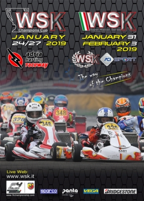 WSK CHAMPIONS CUP TO KICK OFF THE NEW KARTING SEASON BY WSK PROMOTION. THE INTERNATIONAL KARTING SEASON'S OPENER WILL TAKE PLACE FROM JANUARY 24TH TO 27TH AT THE ADRIA KARTING RACEWAY.