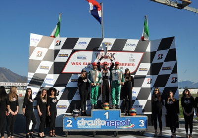 SARNO'S CHEQUERED FLAG AWARDS THE WINNERS OF WSK FINALS: LAMMERS (NL – SODI-TM KZ2), PATTERSON (GB – KR-IAME OK), SEVERIUKHIN (RUS – TONY KART-VORTEX OKJ) AND AL DHAHERI (ARE – PAROLIN-TM 60MINI) ON TOP.