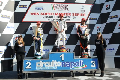 SARNO'S CHEQUERED FLAG AWARDS THE WINNERS OF WSK FINALS: LAMMERS (NL – SODI-TM KZ2), PATTERSON (GB – KR-IAME OK), SEVERIUKHIN (RUS – TONY KART-VORTEX OKJ) AND AL DHAHERI (ARE – PAROLIN-TM 60MINI) ON TOP. Gallery