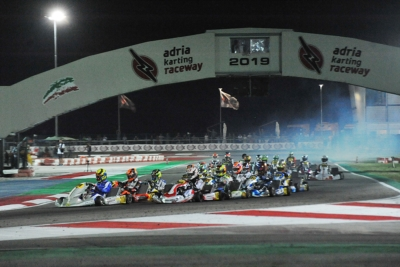 SMAL (RUS – TONY KART-VORTEX OK), ANTONELLI (I – KR-IAME OKJ) AND AL DHAHERI (ARE – PAROLIN-TM 60MINI) CAME TO THE FORE IN THE QUALIFYING HEATS OF WSK EURO SERIES IN ADRIA (I).