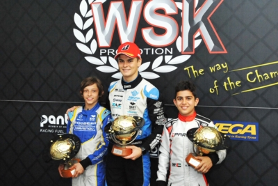 CHEQUERED FLAG ON WSK EURO SERIES 2019 THAT CELEBRATED THE WINNERS TRAVISANUTTO (I – KR-IAME) IN OK, ANTONELLI (I – KR-IAME) IN OK JUNIOR AND AL DHAHERI (ARE – PAROLIN-TM) IN 60 MINI  IN ADRIA (I).