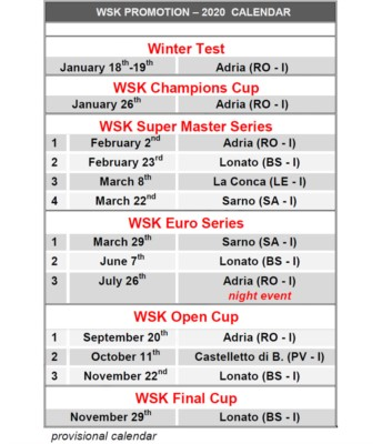 THE WSK CALENDAR FOR 2020 IS READY. A PROGRAMME OF 12 INTERNATIONAL KARTING EVENTS IS READY TO BE RACED ACROSS THE MOST PRESTIGIOUS ITALIAN CIRCUITS FROM THE START OF THE CALENDAR YEAR IN JANUARY GOING THROUGH TO NOVEMBER. Gallery