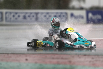 THE POLE SITTERS OF THE WSK FINAL CUP AT ADRIA ARE BIZZOTTO (I – FORMULA K-TM KZ2), TRAVISANUTTO (I – TONY KART-VORTEX OK), BEDRIN (RUS – TONY KART-VORTEX OKJ) AND AL DHAHERI (ARE – PAROLIN-TM 60 MINI).