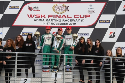 SEASON FINALE WITH THE WSK FINAL CUP: THE WINNERS ARE LUNDBERG (S – LUXOR-TM KZ2), HILTBRAND  (E – TONY KART-VORTEX OK), ANTONELLI (I – KR-IAME OKJ) AND MATVEEV (RUS – ENERGY-TM 60MINI). Image