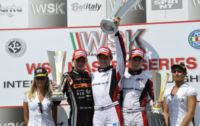 THE WINNERS OF THE WSK MASTER SERIES FINALS IN CASTELLETTO (ITALY): HANLEY (ART GP-TM KZ2), CORBERI (KOSMIC-VORTEX KF), NORRIS (FA KART-VORTEX KFJ), MARSEGLIA (TOP KART-PARILLA 60 MINI).